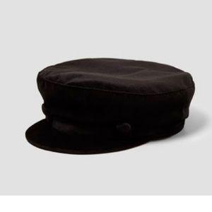 Zara Black Velvet-like Baker Boy Hat with Buttons